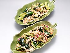 蒸し鶏と胡瓜のピリ辛サラダ